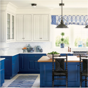 kitchen-design-in-lawrenceville-ga-cobalt-blue-base-cabinets-ivory-top-cabinets-butcher-block-island
