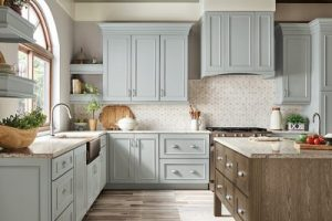 kitchen-remodel-in-Lawrenceville-ga-kraftmaid-seafoam-blue-maple-cabinets-kitchen-island